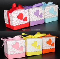 Wholesale Wedding Gift Boxs - Wedding Boxes Gift box Candy box DIY chocolate boxes favor holders 5cm*5cm*5cm Love Heart Silk ribbon Wedding Favors boxs Free Shipping