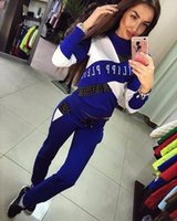 Wholesale Sexy Female Sports Pants - 2017 Tracksuit Women Sport Suit Hoodies Sweatshirt+Pant Jogging Female Marque Survetement Sportswear 2pc Set sexy Suit For Women casual
