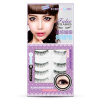 Wholesale Soft Hair Waterproof - Brand Soft Nautral Long Black False Eyelash 10pcs set Waterproof Easy to Wear Fake Full Strip Eyelashes 10mm Length