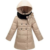Wholesale Girl Animal Fur Winter Coat - 2015 Winter Down Jacket For Girls Double Breasted Bowknot Fur Collar Winter Coat Children Outerwear Parka Retail 1PC