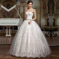 online shopping Ball Gown Wedding Dress - Noble Elegant Fashion Sweetheart Backless Lace Appliques Beaded Ball Gown Long vestido de noiva Wedding Dresses 2016