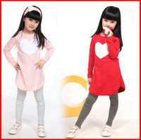 Wholesale cute hot pink shirts resale online - Hot Sale Best Quality Girls PC LOVE SET pc hair band pc shirt pc pant Children s Clothing set Girls Clothes suits Pink Red Heart Design