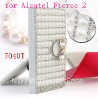 Wholesale Silver Diamond Phone Cases - 3D Luxury Bling for Alcatel One Touch Fierce 2 7040T Flip Bling leahter skin bag mobile phone case cover Diamond crystal holder wallet