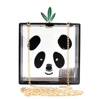 Wholesale Panda Shoulder Bag Black - European Acrylic Clutch Bags Luxury Animal Panda Cute Transparent Evening Bag Hard Box shoulder Chains Women Clutches B981