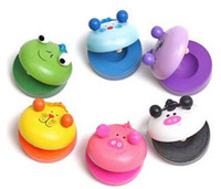 zoo animal toys children achat en gros de-2016 nouveau Children's Animal Zoo Instruments de percussion musicale Wooden Colorful Castanet Baby Educational Toys Livraison gratuite