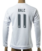 Wholesale Athletic Tops Long Sleeve - Thai Quality Customized 15-16 New season men Long sleeve 11 Bale Soccer Jerseys shirts,Cheap Athletic 10 JAMES 11 BALE TOP Soccer Wear tops