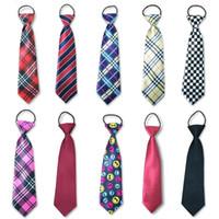 einstellbare halsbänder großhandel-Nette Jungen Mädchen Farbe Elastische Einstellbare Krawatte Kinder Krawatte Gemusterte Kinder Krawatte Lässige Krawatten Krawatte Schuluniformen Set