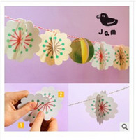 Wholesale Hanging Paper Flower - Wedding Tags Photo Booth Props Birthdays Wedding Decorations New Rainbow Colors Hanging Paper Chain Flower Wedding Birthday Party