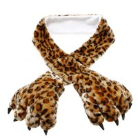 [Incompleto em $ X.99] Soft Warm Fluffy Plush Cartoon Bear's Paw Scarf Glove