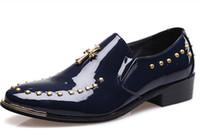 25 dress Australia - 2017 NEW Pure color man cusp Breathe freely Leather shoes rivet Business dress shoes Single shoes ENPX 25