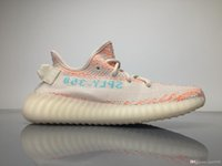 Originali di qualità superiore spinta 350 V2 Real Boost B37574 Kanye ovest trasparente marrone gessata Coral 918 Clear Aqua Running Shoes