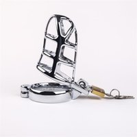 Wholesale Metal Male Chasity Devices - Stainless steel men chasity device Men Metal Fetish Smooth Chastity Belt Chasity Penis Cage cock cage sex toy for men CD009