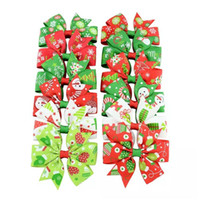 Wholesale Christmas Grosgrain Ribbons - 3 inches Baby Girls' Hair Bow Grosgrain Ribbon Santa Christmas Boutique Clips For Kids Babies Children Toddlers
