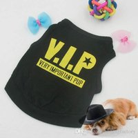 Wholesale Cotton Blend Black Vests - Dog Puppy Clothing Black Cotton Blend T-Shirt VIP Pattern Vest Teddy Pet Clothes Free&DropShipping