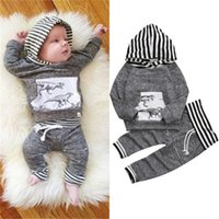 Wholesale Boys Dinosaur Hoodies - 2017 Baby Hooded Clothing Sets Boys Toddler Hoodies Tops Pants 2Pcs Set Autumn Cotton Dinosaur Infant Sweatshirts Boutique Clothes Outfits