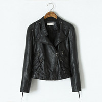 Wholesale Womens Leather Down Jacket - PU Leather Jacket Women Clothes 2015 Faux Turn-Down Collor Female Jackets Womens Slim Coats Plus Size Feminino Chaquetas Mujer