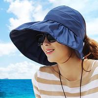 Wholesale Uv Sun Cream - Wholesale-Anti-uv big beach sun hat folding hat 2015 Summer Women's Ladies' Foldable Wide Large Brim Beach Hat Sun Straw Hat Cap