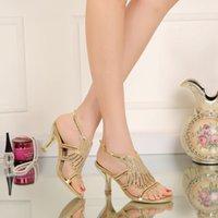 kristal yavru topuklar toptan satış-Altın Rhinestones Düğün Ayakkabı Yavru Topuk Kristaller Sandalet 2016 Yeni Gelin Ayakkabıları Slingback Burnu açık 7.5 cm Topuk US4-11 Balo Ayakkabı
