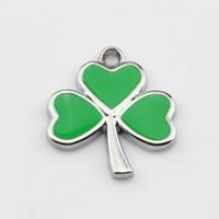 Wholesale Lucky Grass Pendant - Hot Sell ! 50pcs Green Enamel Lucky Grass Charm Pendant DIY Jewelry 17.5X 20MM