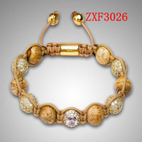 Wholesale Shamballa Gold Plated Beads - Nialaya Bracelet Shamballa natural stone Large eye alloy Drill the ball powder Weave Bead Gold-plated made Adjustable Bracelet Free shipping