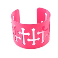 Wholesale Cuffs Pink - Cuff Bracelets for Women with Cruz Hollow out Pink Yellow Orange Color Jesus Bangles Bracelet