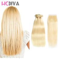 Wholesale Brazilian Blond Weave - Hot Selling #613 Blond Human Hair Bundle Lace Closure Brazilian Virgin Straight Hair 3 Bundles Hair Bundles With Closure Wet And Weave Thick