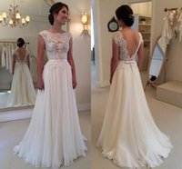 Wholesale Modest Dresses Sleeve Muslim - Backless Formal Wedding Dresses Chiffon 2015 Evening Gowns Sexy Modest With Sleeves Lace Beach Boho Bridal Dress Vintage Long Train Cheap