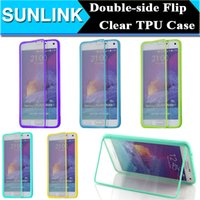 Double Sided Flip Case Transparente Transparente Soft TPU Silicone Borracha gel Jelly Case para iPhone se 5 5S 6 Plus Samsung Galaxy Nota 4 S6