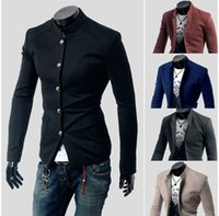 Wholesale Hipster Small - Wholesale-2016 autumn winter fashion Han edition men's leisure hipster pure color collar Cultivate one's morality small coat Blazer