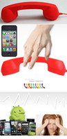 Wholesale Telephones For Iphone Ipad - Red Retro Handset Cell Phone Telephone Earphone Receiver 3.5mm For iPhone iPad samsum phone LB