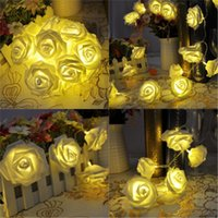 Wholesale Blue Rose Led - Valentine's Day birthday party 20 LED battery box light string rose flower style decorative lantern string lights wholesale