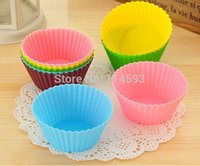 Wholesale Silicone Tart Pans - 7 Cm Round Silicone Bakeware Silicone Cake Baking Mold     Pudding   Chocolate   Muffin Cup Tart Pan 1010#16