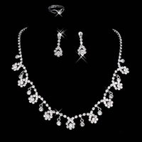 Wholesale Pierced Earring Chain - 2016 Bridal Jewelry Wedding Bridal Crystal Rhinestone Accessories Necklace and Earring Ear Clip type Ring Sets Silver Plated In Stock