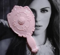 Wholesale Vintage Rose Mirror - Women Vintage Rose Cosmetic Mirror Plastic Makeup Mirror Cute Girl Hand Make Up Black White Pink 3 colors #71283