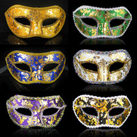 Wholesale Sexy Blue Christmas Costume - Halloween Color Cosplay Women Mask Half Face Venice Makeup Party Supplies Mask Masquerade Sexy Performance Costume 20pcs lot SD407