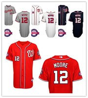 Baseball black moore - Washington Nationals Tyler Moore Cutomized Baseball Jersey Embroidered Stitched Shirt Mix Order