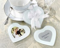 Wholesale favor coasters resale online - Creative Cute Heart Glass Coaster cup mat pads gift box Ribbon wedding favor baby shower gift