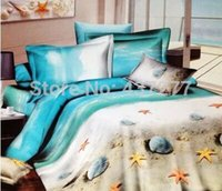 Wholesale Beach Quilt Cover Set - Wholesale-Oil painting beach seashell starfish home textile bedding sets Egyptian cotton queen duvet quilt comforter cover sheets 4 5pc