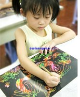 Wholesale Educational Paint Supplies - 5 Sheet 16K Colorful Scratch Art Paper Magic Painting Paper with Drawing Stick Children Kids art supplies sets Learning and Educational tool