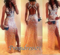 Wholesale Long Luxury Evening Dress - Luxury Beaded Sexy Prom Dresses High Quality Shining Long Prom Party Dresses With Cross Back Side Slit Formal Evening Dress For Women