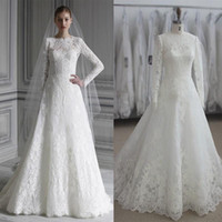Wholesale Ruching Sleeve Wedding Dress - 2016 Monique Lhuillier Full Lace Wedding Dresses Real Images Long Sleeves Plus Size Muslim Arabic Ruching Wedding Gowns Cheap Bridal Dresses