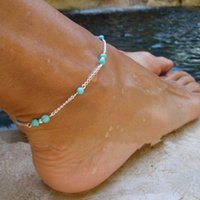 6pcs Punk Hot Unique Turquoise Beads Silver Chain Anklet Ankle Bracelet 2015 Novo Mulheres Barefoot Beach Foot Jewelry Drop Free GE09039