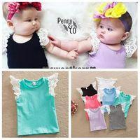 Wholesale Babies Singlets - Newborn Baby Girls T-shirt Vest Singlets lace 2016 Summer top Sale Puff Shoulder straps 7 colors 6 size u pick B11