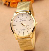 Wholesale Geneva Charms Watch - Luxury gold Geneva quartz watch dress business men women alloy wristwatch charm jewelry cool party festive lday gift