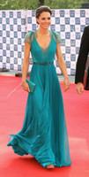 kate-spitzenkleid groihandel-Middleton New Kate in Jenny Packham Sheer mit Puffärmeln Abendkleider formales Berühmtheits-roter Teppich-Kleid-Spitze Chiffon Abendkleider