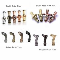 Wholesale Dct Pieces - Inhaler Metal Mouth Drip Tip Skull, Skull With Hat, Cobra, Dragen Head Drip Tips Piece For 510 DCT Atomizer Ego Nova E Cigarette