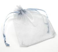 joyería express al por mayor-Al por mayor-100Pcs 9x12cm Grey Organza Wedding Gift Jewelry BagsPouches (más de $ 110 Free Express)