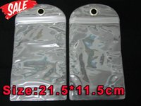 Wholesale Iphone Hard Waterproof Case - Waterproof PVC Zipper Plastic Retail 21.5*11.5cm bag Packaging Package For Iphone 6 4.7 samsung galaxy S3 S4 S5 HTC One hard Leather cases