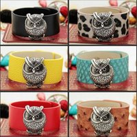 Wholesale Vintage Rhinestone Owl Bracelet - Vintage Owl Leather Bracelet Fashion Women Charm Wrap Bracelets Bangle Retro Jewelry