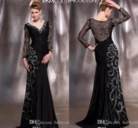 Wholesale Elegent Evening Dresses - 2015 Fall Winter Balck Mother Of The Bride Dresses Bateau Long Sleeve Elegent Applique Lace Mermaid Vintage Evening Dresses With Lace